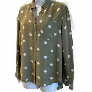 Olive Green & White Polka Dot Button Down Shirt S